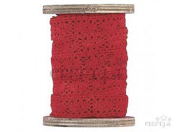 Dekoračná bavlnená stuha čipka 2cm - červená