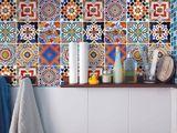 Nálepky na obklad mozaikové 6,5cm - 12ks - oranžovomodré