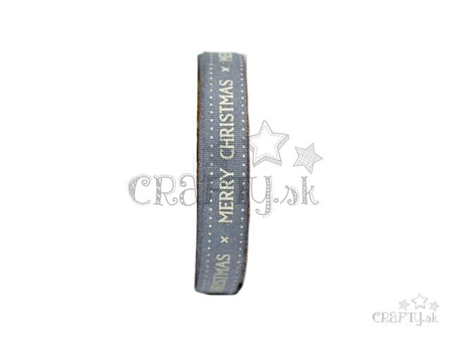 bb3068de27 crafty.sk - Bavlnená stuha 12mm - 2m - sivá - Merry Christmas