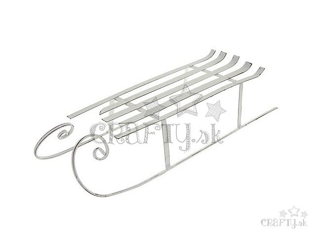 e1d7a0abf crafty.sk - Dekoračné kovové sane 43cm - biele