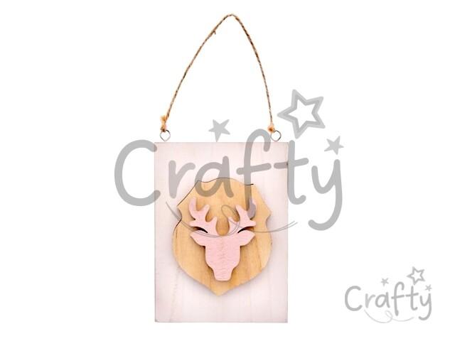 e77c76232 crafty.sk - Drevená vintage doska 15,5cm - ružová s jeleňom
