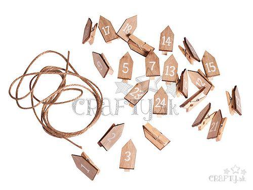 Drevené adventné štipce s domčekmi