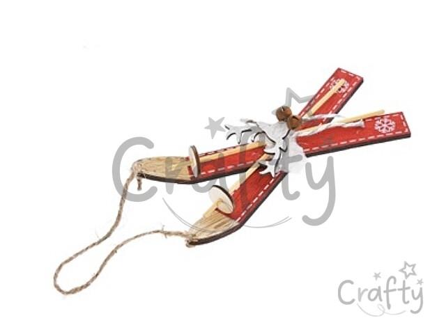 8fb002319 crafty.sk - Drevené dekoračné lyže s palicami 28cm - červené so sobom