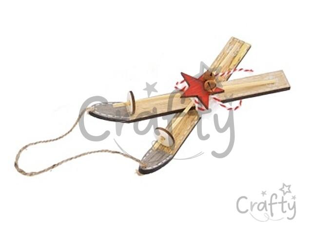 a6f9442ea crafty.sk - Drevené dekoračné lyže s palicami 28cm - prírodné s hviezdou