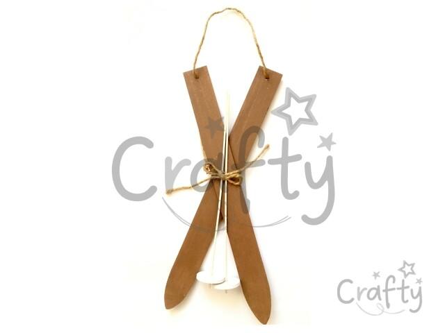 626302284 crafty.sk - Drevené dekoračné lyže s palicami 38cm - vintage hnedé
