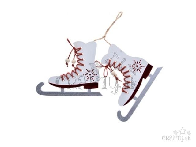 1e6baef26 crafty.sk - Drevené ozdobné korčule so šnurovaním 10cm - biele