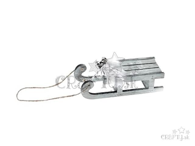 00a922aa5 crafty.sk - Drevené závesné sane 13cm s rolničkami - vintage biele