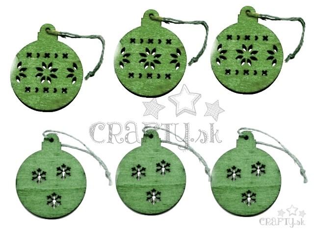 a517a2712 crafty.sk - Drevené závesné výrezy 6ks - zelené vianočné gule
