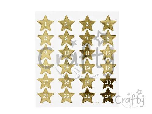 Kreatívne nálepky - zlaté adventné hviezdičky