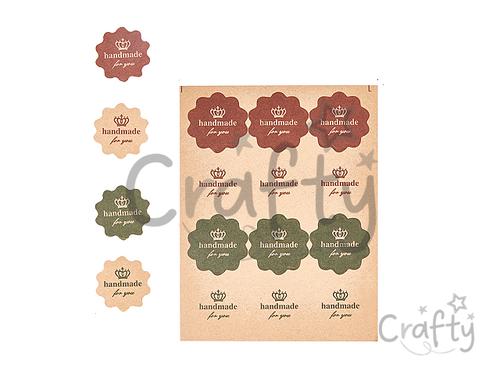 Papierové kraftové nálepky 12ks - Handmade for you