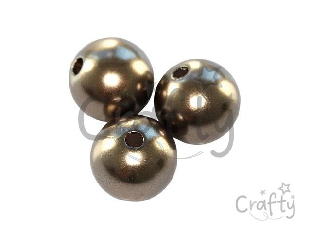 crafty.sk - Plastové korálky perličky 8mm 10ks - kávové 827e343c921