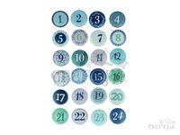Drevené nalepovacie adventné čísla - zimné modré