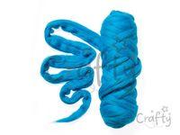 Farebná česaná Merino vlna - plsť 50g - tyrkysová modrá