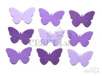 Filcové výrezy 4cm 9ks - motýle - fialové