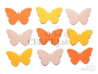 Filcové výrezy 4cm 9ks - motýle - oranžové