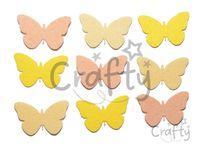 Filcové výrezy 4cm 9ks - motýle - žlté