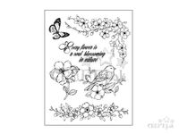 Gumené HD pečiatky - vtáčik a čerešňové kvety