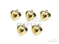 Kovový prívesok srdce, rolnička 15mm 5ks - zlatý