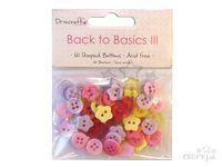 Plastové gombíky mix 60ks - Back to Basics III