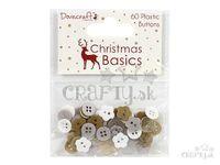 Plastové gombíky mix 60ks - Christmas Basics