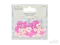 Plastové gombíky srdiečka 35ks - ružové