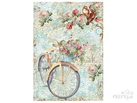Ryžový papier A4 - vintage bicykel s kvetmi