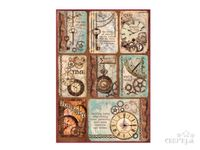 Ryžový papier A4 - vintage obrázky - kľúče a hodiny