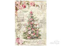 Ryžový papier A4 - vintage ruže a vianočný stromček