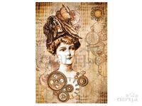 Ryžový papier A4 - žena s klobúkom a hodiny