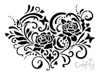 Šablóna A4 - Srdce s ružami