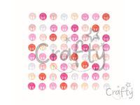 Samolepiace perličky 8mm 64ks - Pink