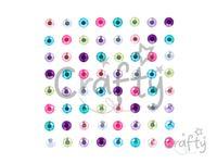 Samolepiace štrasy 6mm 64ks - Multicolor