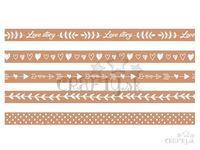 Vzorované lepiace WASHI pásky (masking tape) 15mm 5x5m - Love Story - prírodné