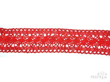 Bavlnená čipka 43mm - červená