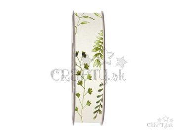 Dekoračná bavlnená stuha 25mm krémová - bylinky