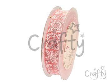 Dekoračná bavlnená stuha 25mm s plastickými ornamentami - ružová
