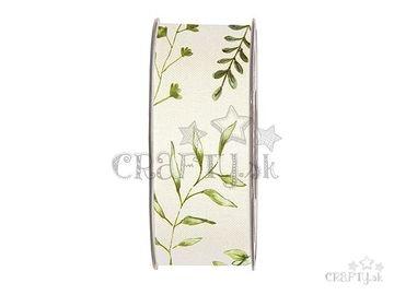 Dekoračná bavlnená stuha 40mm krémová - bylinky