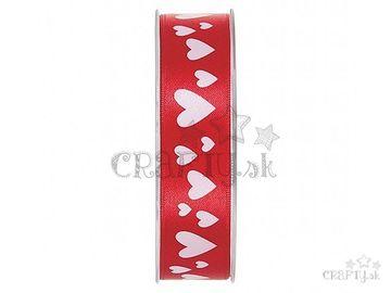 Dekoračná saténová stuha 25mm - červená so srdiečkami