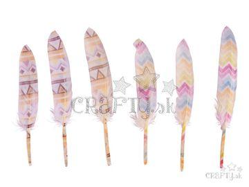 Dekoračné ozdobné pierka s potlačou - indiánske