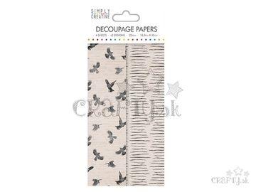 Dekupáž papiere 4ks - 18,8x35cm - vtáčiky a prúžky