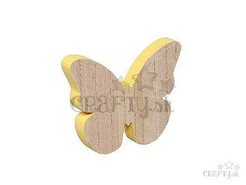 Drevená masívna dekorácia motýľ 15cm - pastelovo žltý
