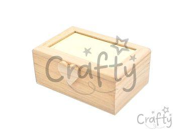 Drevená mini krabička so srdiečkom 12cm