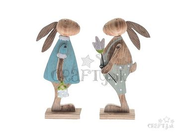Drevená postavička 17cm - modrý zajac