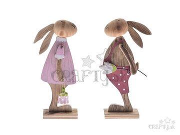 Drevená postavička 17cm - ružová zajačica