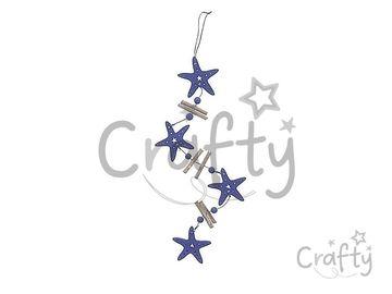 Drevená vintage girlanda 60cm - tmavomodré hviezdice