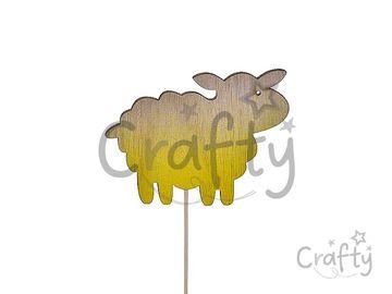 Drevená zapichovacia ovečka na špajli 21cm - prírodná a žltá