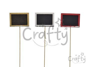 Drevená zapichovacia tabuľka na špajli 28cm - zlatá