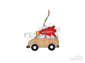 Drevená závesná dekorácia 9cm - vianočné autíčko