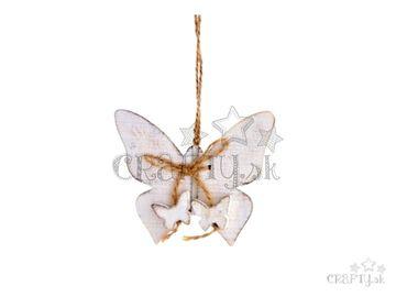Drevená závesná vintage ozdoba - biely motýľ