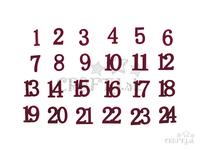Drevené adventné čísla so zamatovým povrchom - bordové